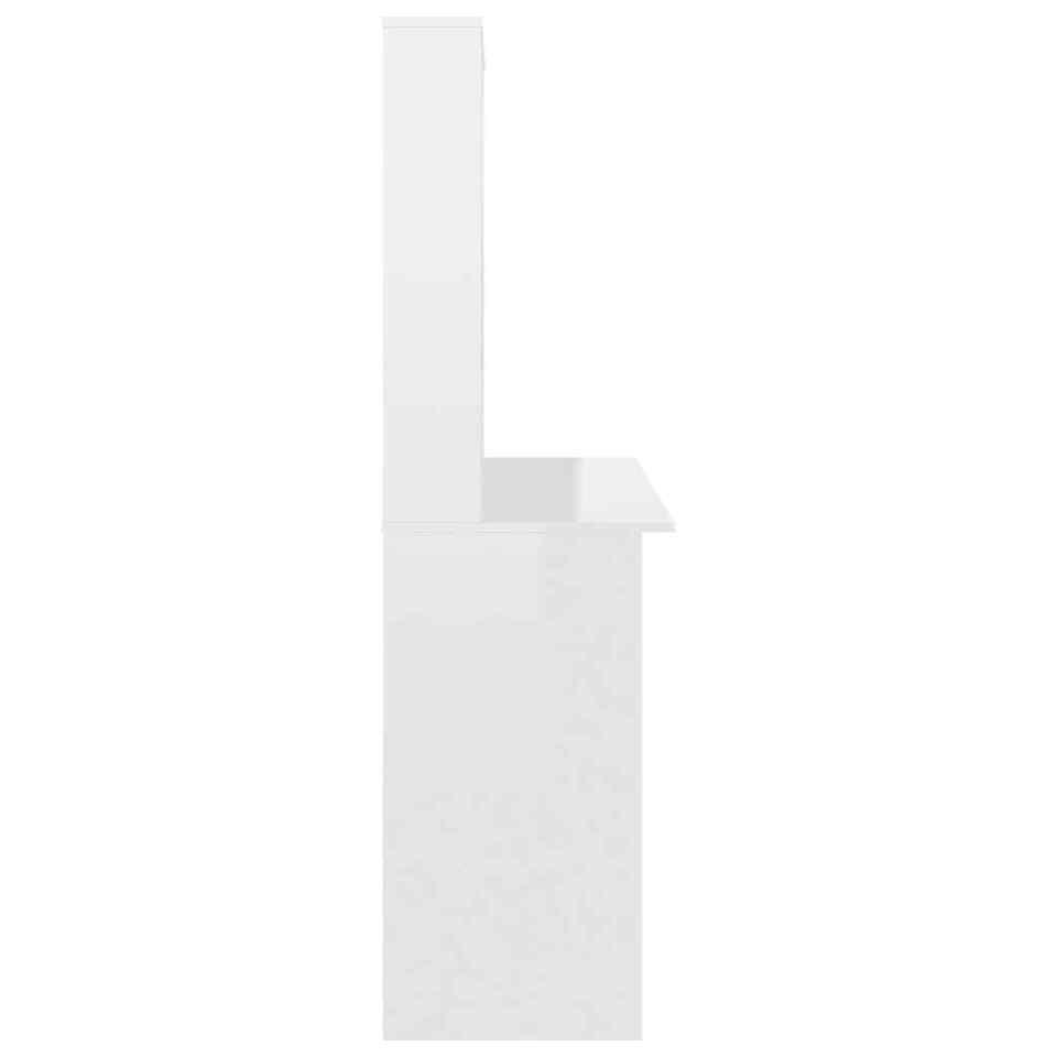 Scrivania con Mensole Bianco Lucido 110x45x157 cm in Truciolato 5