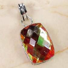 Rainbow mystic 925 silver overlay pendant of 39mm