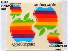 APPLE Computer VINTAGE foglio 4 ADESIVI 1986 NUOVI Perfetti