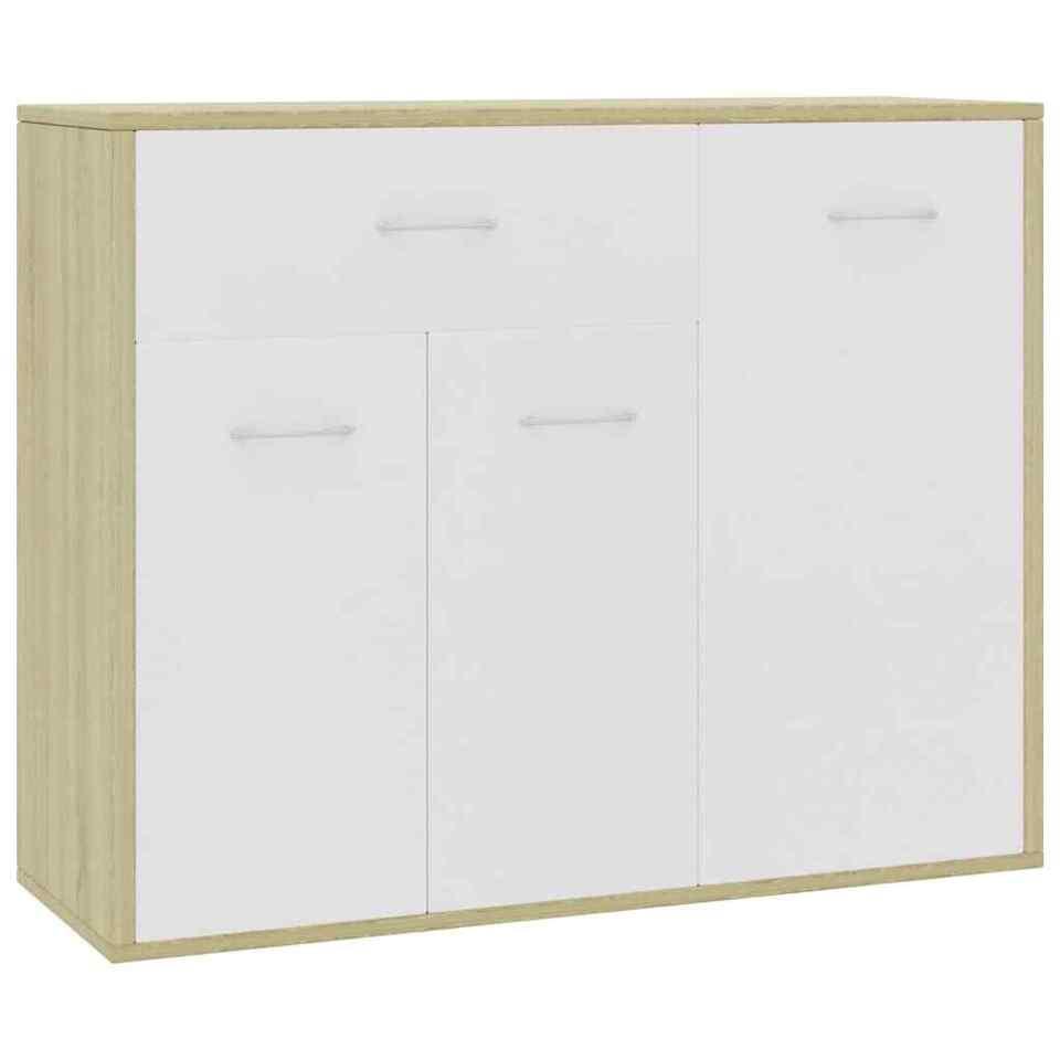 Credenza Bianco e Rovere Sonoma 88x30x70 cm in Truciolato 2