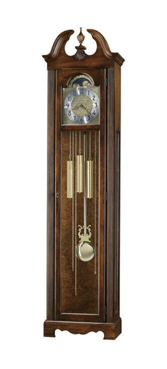 the howard miller princeton stands 82 inches tall and features harmonic movement encased in a hampton cherry finish the decorative swan neck