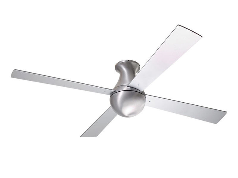 ball ceiling fan. the modern fan company is an ultra-contemporary entry into ceiling market. it features four straight blades in ball-brushed aluminum, ball