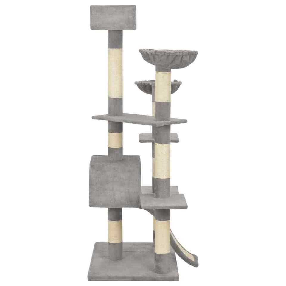 Albero per Gatti con Tiragraffi in Sisal Grigio 183 cm XXL 3