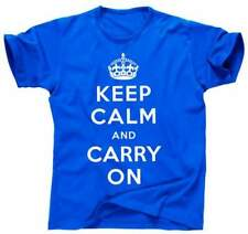 T-shirt uomo blu royal unisex keep calm and carry on vintage tg.m moda
