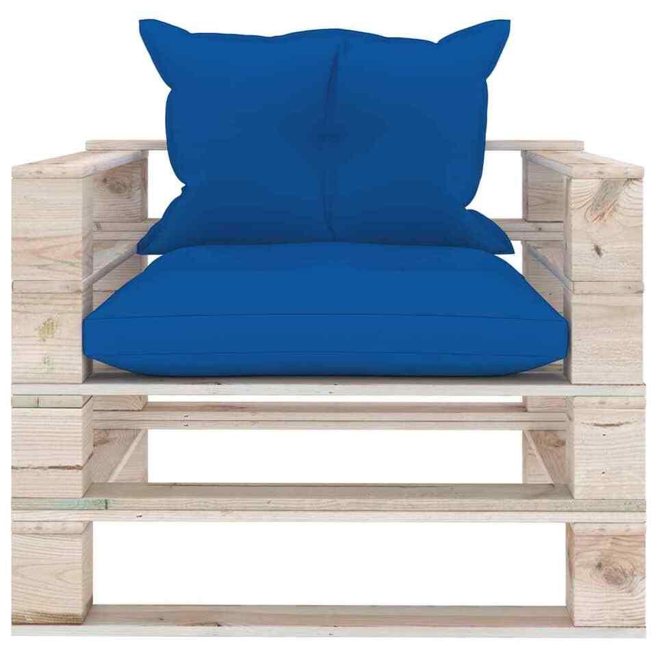 Divano da Giardino in Pallet Cuscini Blu Reale in Legno di Pino 2