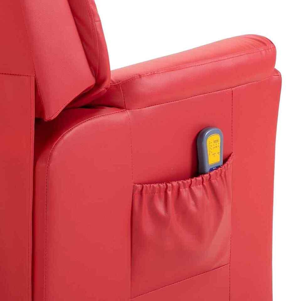 Poltrona Massaggiante Reclinabile Rossa in Similpelle 8