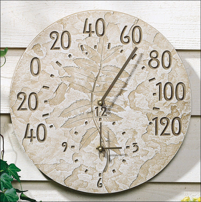 Whitehall Fossil Sumac Thermometer Clock