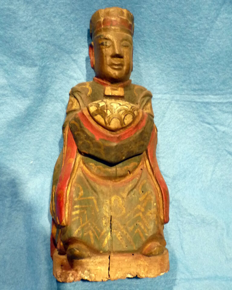 Cina 1850, Chinese Carved Wood Reliquary of Dignitary 7