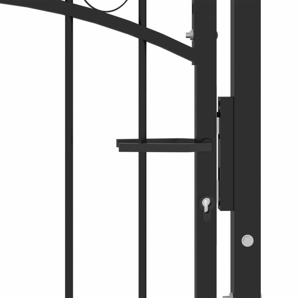 Cancello per Recinzione ad Arco in Acciaio 100x100 cm Nero 3