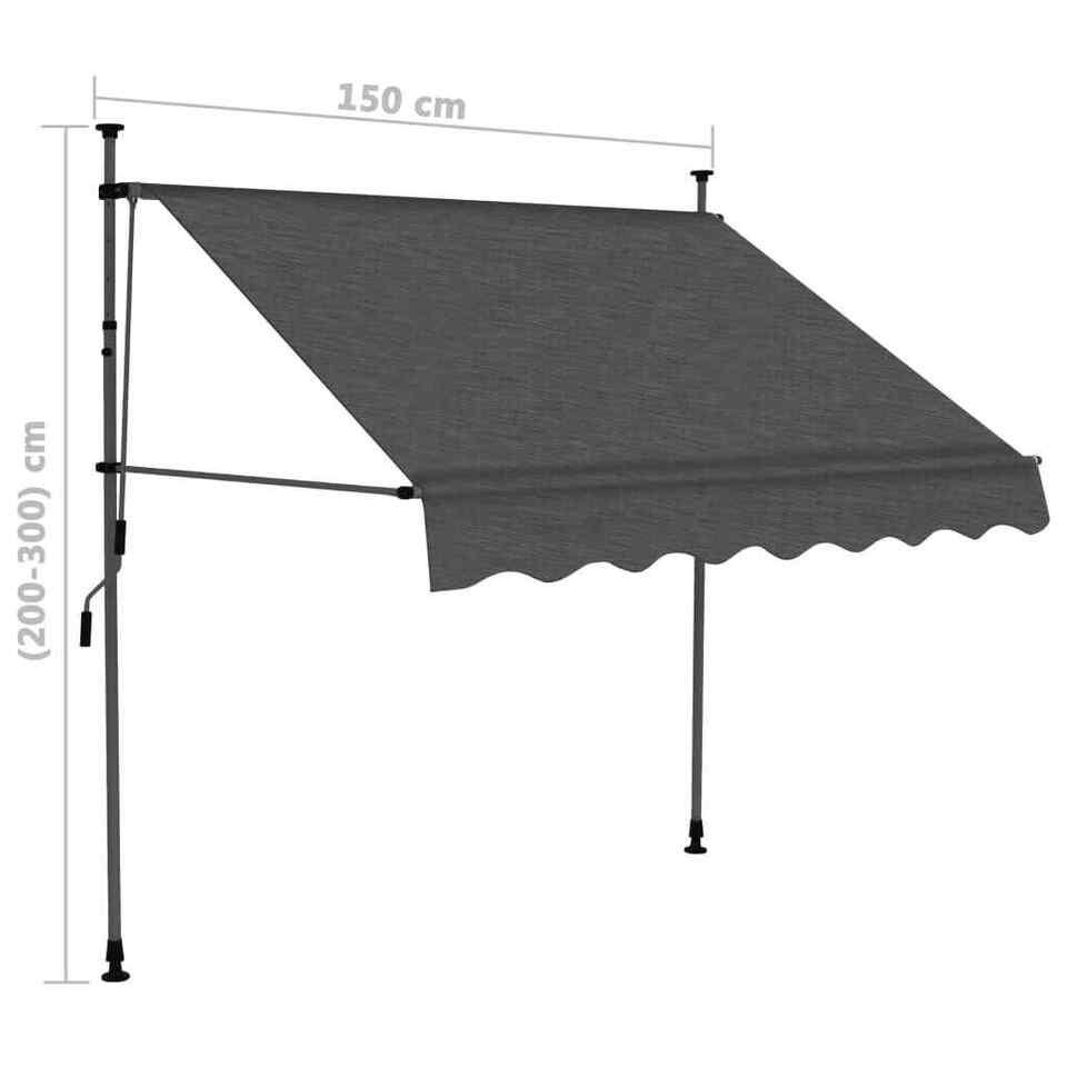 Tenda da Sole Retrattile Manuale con LED 150 cm Antracite 8