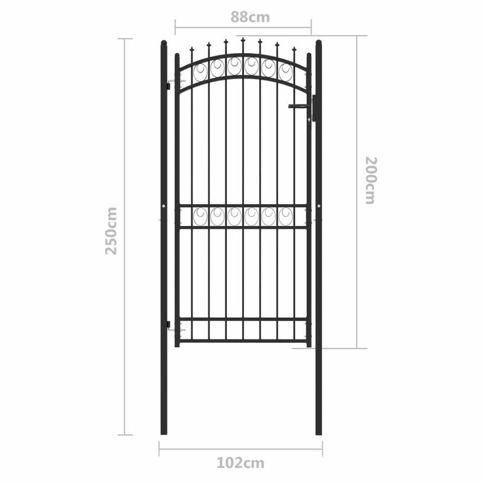 Cancello per Recinzione con Punte in Acciaio 100x200 cm Nero 5