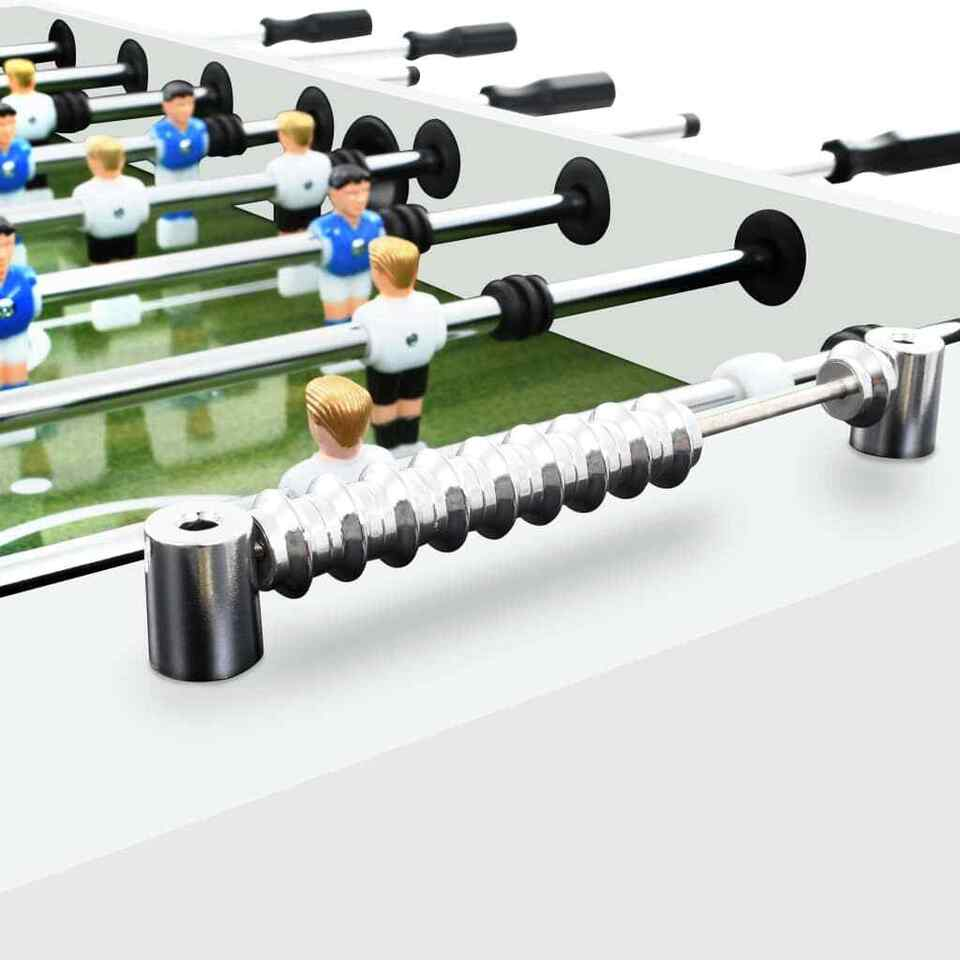 Tavolo Calcio Balilla in Acciaio 60 kg 140x74,5x87,5 cm Bianco 4