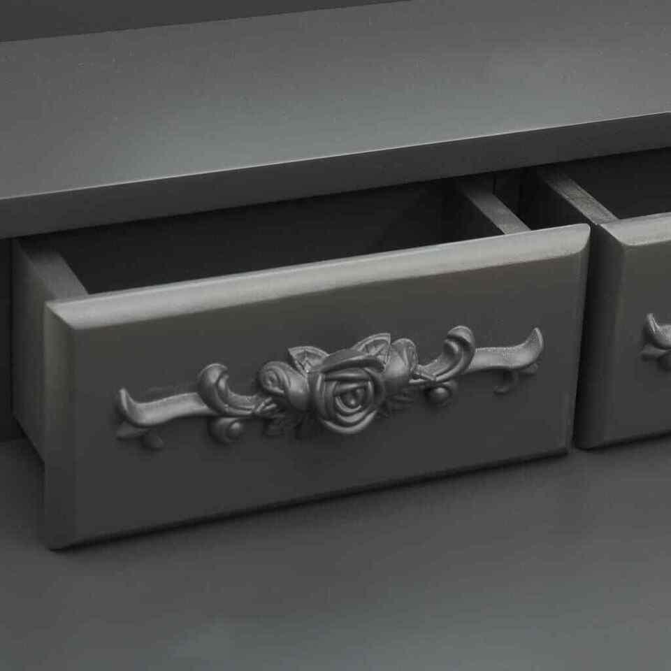 Tavolo da Trucco e Sgabello Grigio 50x59x136 cm Legno Paulownia 2
