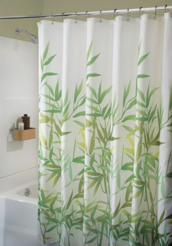 the interdesign anzu shower curtain has a pretty bamboo design on a white background the design comes in several colors and the curtain measures 72 inches