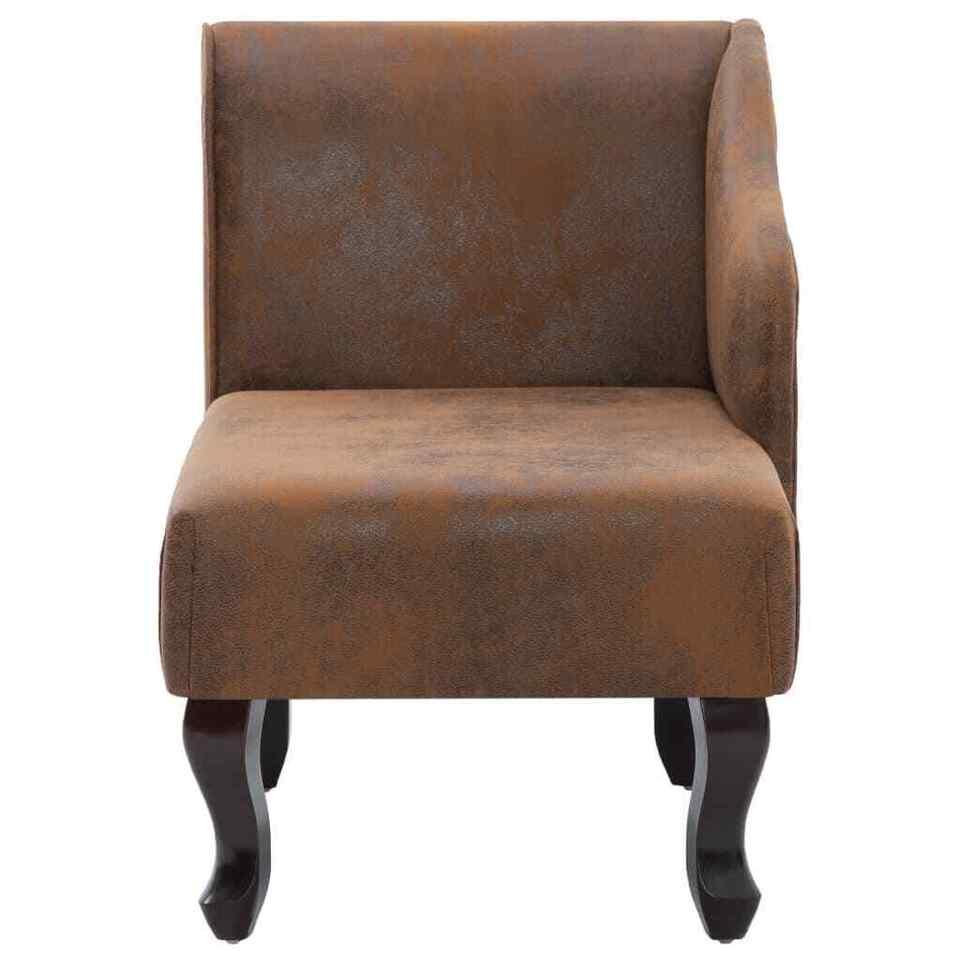 Sedia a Sdraio Marrone in Similpelle Scamosciata 6