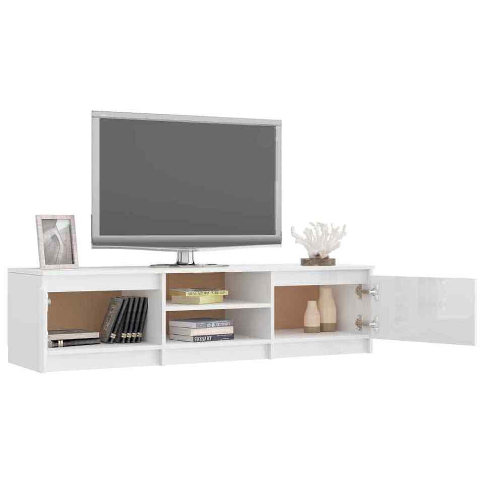 Mobile TV Bianco Lucido 140x40x35,5 cm in Truciolato 5