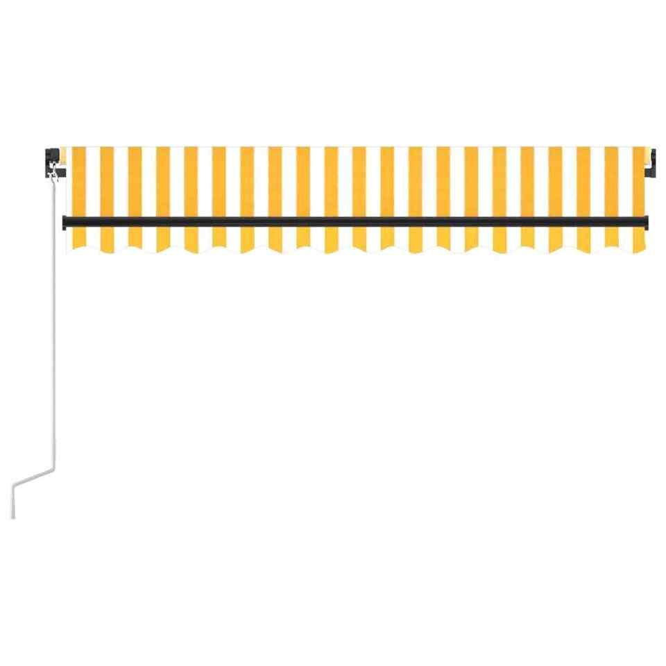 Tenda da Sole Retrattile Manuale LED 350x250 cm Gialla e Bianca 4