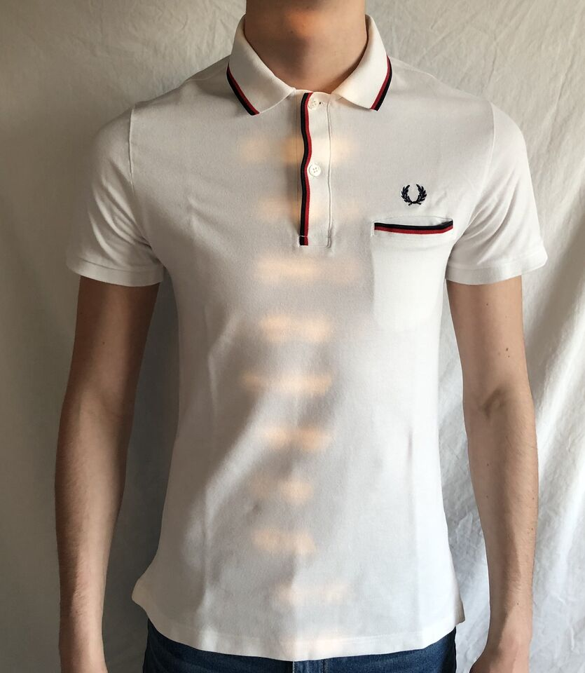 FRED PERRY Polo Taschino Bianca Slim Fit Uomo tg. 42 Nuova