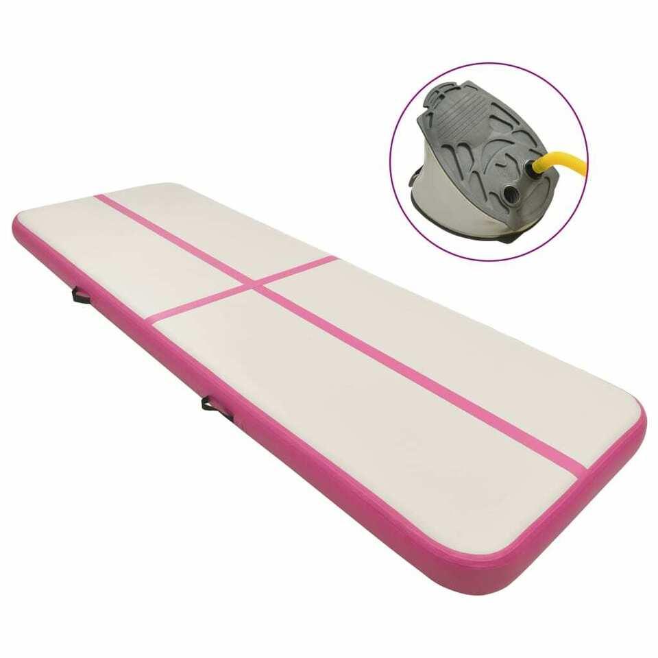Tappetino Ginnastica Gonfiabile con Pompa 500x100x15cm PVC Rosa