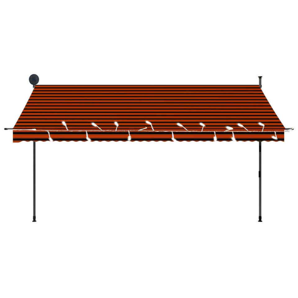 Tenda da Sole Retrattile Manuale LED 350 cm Arancione e Marrone 4