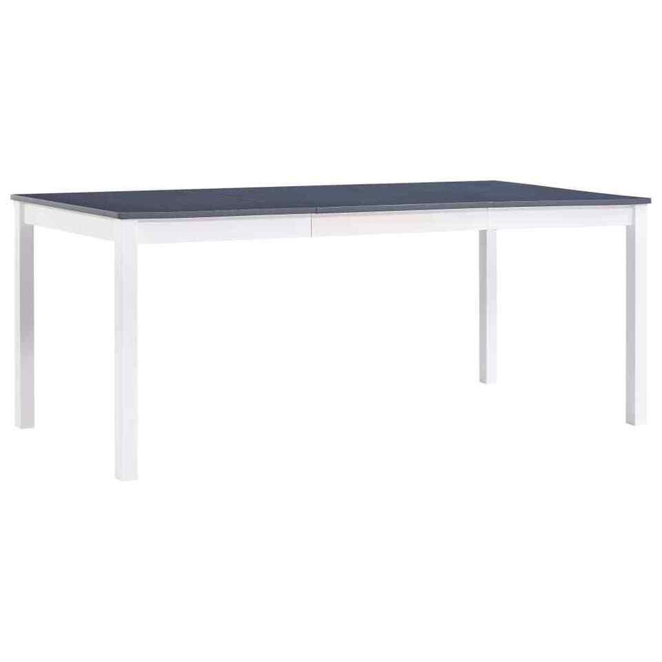 Tavolo da Pranzo Bianco e Grigio 180x90x73 cm in Legno di Pino