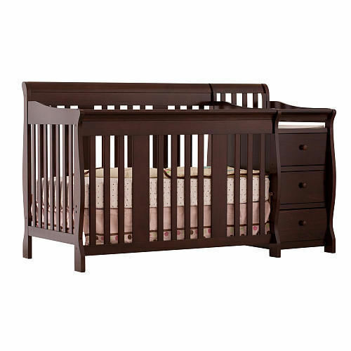 portofino is a 4in1 convertible crib featuring a sleigh design with stationary sides and a mattress base that parents can adjust as their baby grows