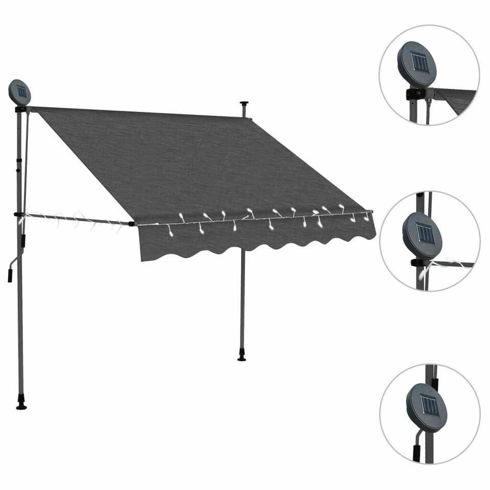 Tenda da Sole Retrattile Manuale con LED 150 cm Antracite 3