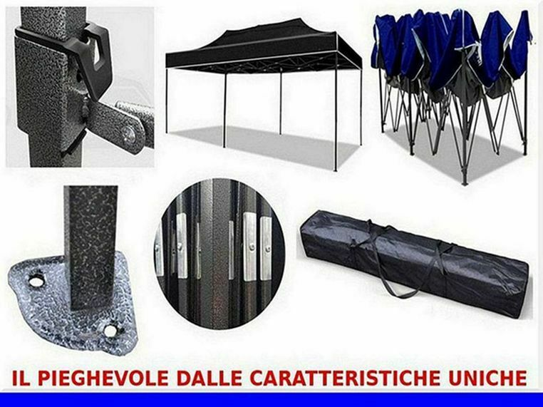 Gazebo blu retrattile 6x3 tendone richiudibile box 2