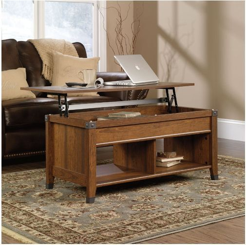 The Sauder Carson 414444 Lift Top Coffee Table Offers A Great Blend Of Style And Versatility Its Tabletop Lifts Up To Provide An Extended Work Surface