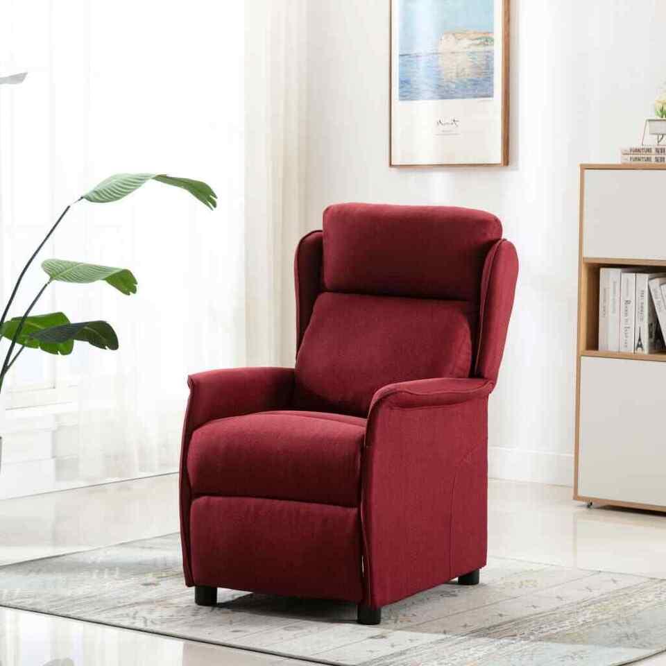 Poltrona Massaggiante Reclinabile Rosso Vino Tessuto
