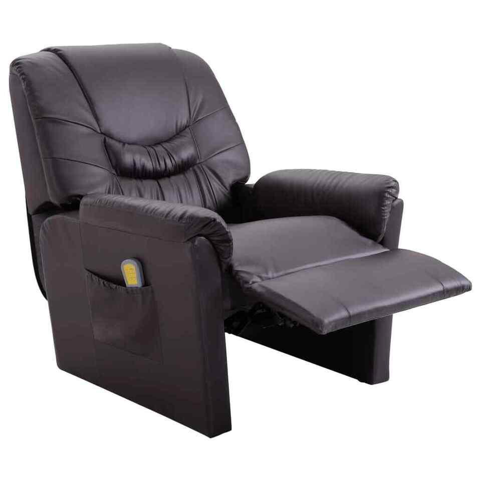 Poltrona Massaggiante Reclinabile Marrone in Similpelle 5