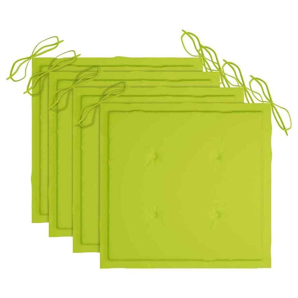 Sedie da Giardino Cuscini Verde Brillante 4 pz Massello di Teak 6