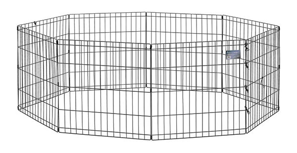 a versatile kennel the midwest black ecoat exercise playpen has a flexible design where eight hinged panels allow the user to set it up either as a square