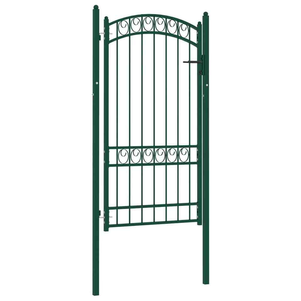 Cancello per Recinzione ad Arco in Acciaio 100x175 cm Verde 2