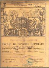 Antico documento di congedo militare 1934