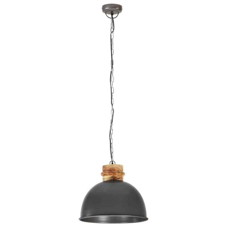 Lampada Soffitto Industriale Grigia Rotonda 50 cm E27 in Mango 5