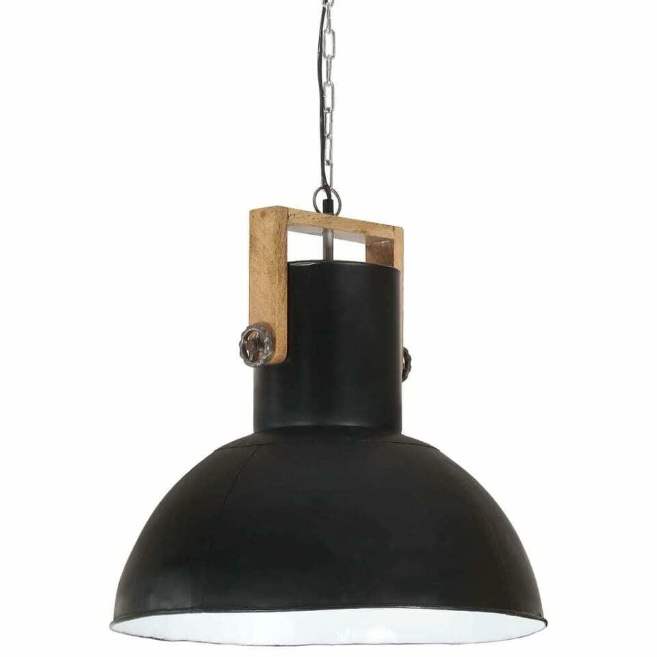Lampada Soffitto Industriale 25 W Nero Rotonda Legno Mango 52cm 2