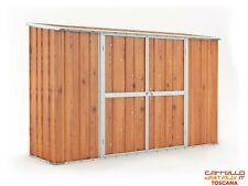 Casetta in lamiera per esterno 307x100cm finitura legno
