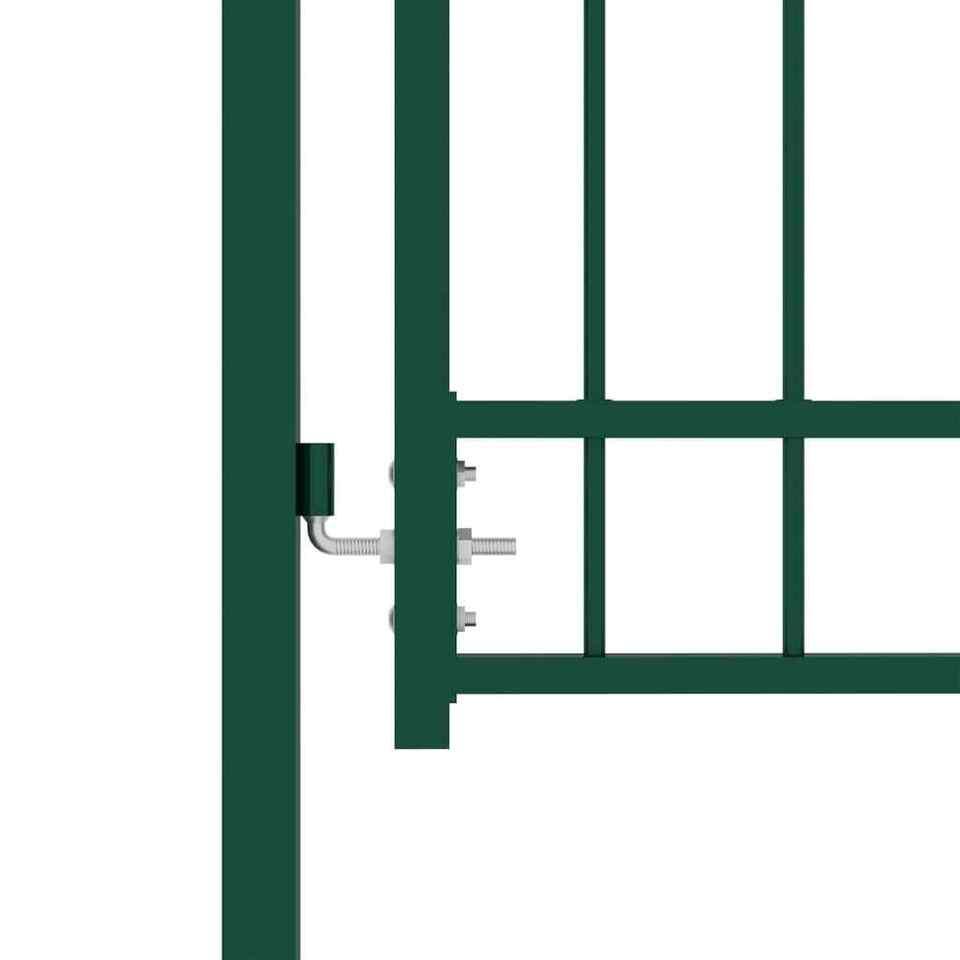 Cancello per Recinzione ad Arco in Acciaio 100x175 cm Verde 3