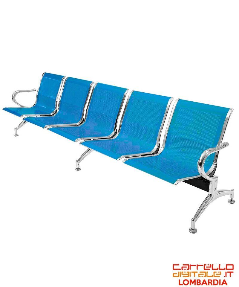 Panca da attesa in acciaio colore blu 5 posti 2