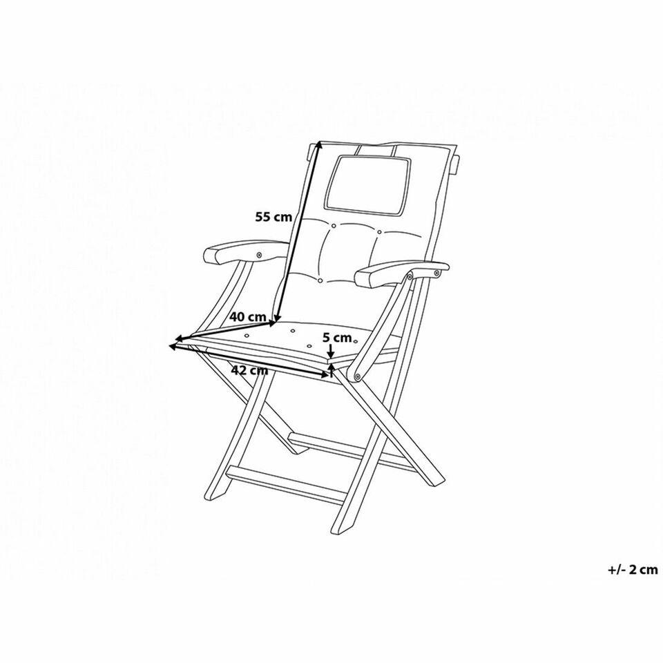 BELIANI Set di 2 cuscini da seduta/schienale per esterni a strisce blu 3