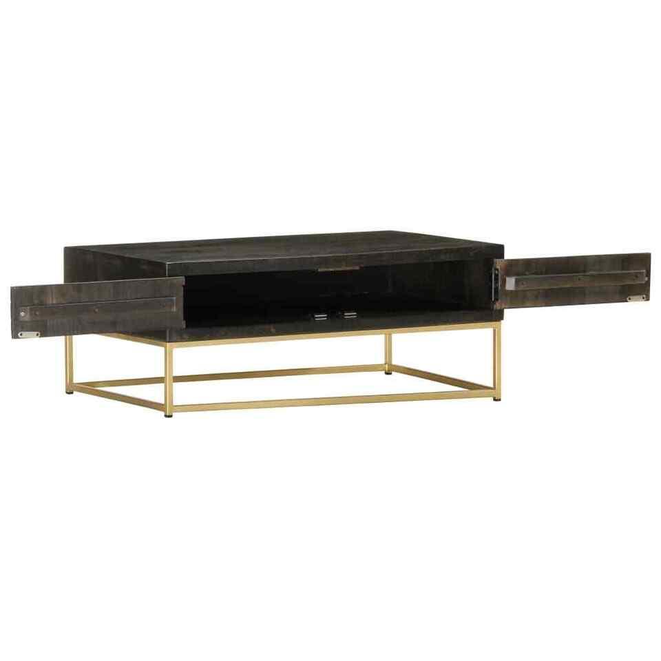 Tavolino da Caffè Nero e Oro 90x50x35 cm in Massello di Mango 5
