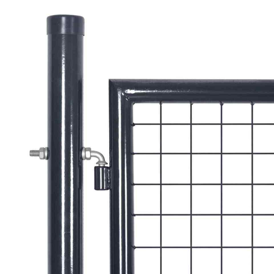 Cancello per Giardino Rete in Acciaio Zincato 289x175 cm Grigio 3