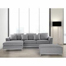 Beliani Divano angolare in tessuto grigio chiaro versione destra OSLO
