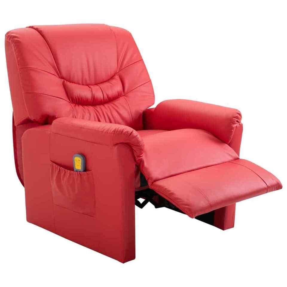 Poltrona Massaggiante Reclinabile Rossa in Similpelle 5