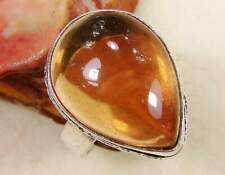 Quartz citrine 925 silver overlay ring us size 6