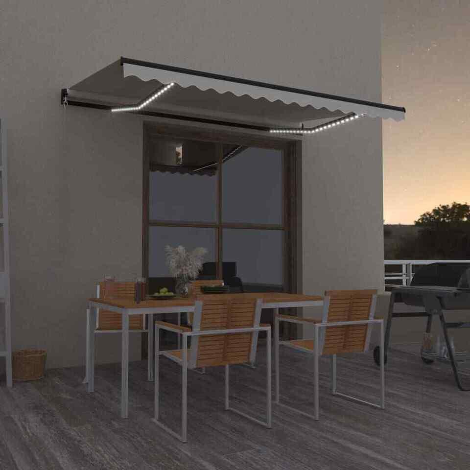 Tenda da Sole Retrattile Manuale con LED 450x300 cm Crema