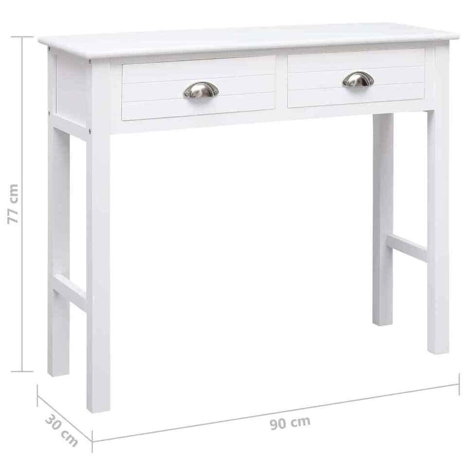Tavolo Consolle Bianco 90x30x77 cm in Legno 8