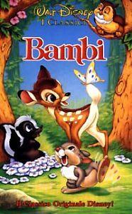 Vhs film cinema videocassetta cartone animato bambi walt disney no