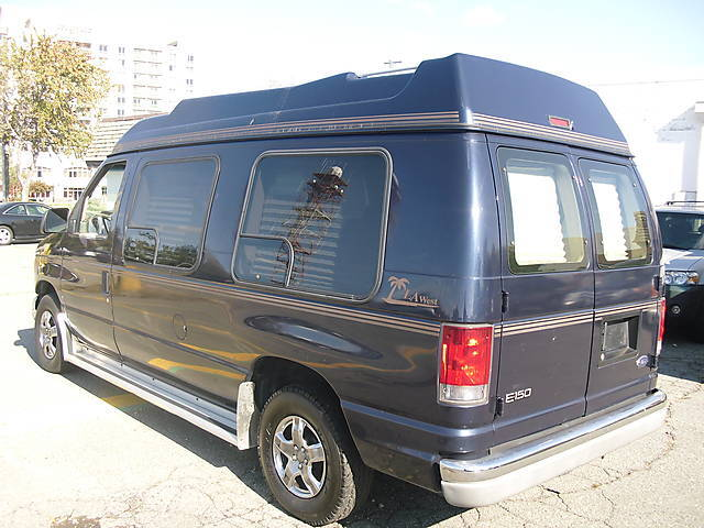 2001 Ford LA West High Top Conversion Van Blue TV Bed